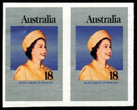 Lot 759:1977 Silver Jubilee Plate Proof 18c imperforate pair in issued colours, BW #766PP(1) on thicker paper than issued stamp, small surface indent left-hand unit, without gum, Cat $500.