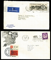 Lot 477 [2 of 4]:1960s Wildings, Castles, Commemorative & Regional Frankings mostly small covers with a nice mix of commercial and philatelic usage, better items include 1964 3d Wilding with 'FPO/340' (Germany) cds, 1964 Telegraph Form with 5/- Castles + 5d Wilding tied by Hemel Hempstead datestamp, 1965 to USA with 2/6d Castles solo, 1965 2/6d Parliament solo to USA; philatelic including 1961 Europa flight with 3d Wilding & BEA 11d Airway Letter Service label, also commemorative cancels, FDCs, etc. Condition generally fine. (100+)