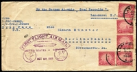 Lot 1896 [1 of 2]:1928 (Oct 28) Graf Zeppelin cover to Germany with 20c Ship x5 paying letter rate tied by Lakehurst datestamps, official flight cachet in magenta AAMC #Z-56, Friedrichshafen backstamp, small tear at left.