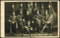 Lot 898 [2 of 2]:1917 (Sep 26) Real Photo PPC showing 'YMCA Returned Soldiers' Concert Party 1917', handstamped on message side 'MELBA STUDIO 131 SWANSTON STREET', sent from Melbourne to Wodonga, a few creases/blemishes.