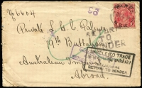 Lot 589 [1 of 2]:1918 (Jul 29) cover with 1d red KGV tied by Taree (NSW) datestamp to Private LHC Palmer of 19th Battalion AIF Abroad, RTS handstamps including boxed 'UNABLE TO TRACE/RETURN TO LETTER OFFICE AIF/MELBOURNE/RETURN TO SENDER' & 'RETURNED LETTER OFFICE AIF/6MY19/MELB' backstamp. [Supplied with images of Pte Palmer's name on the Taree War Memorial]