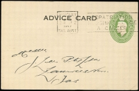 Lot 482:1941-50 1½d Green KGVI Oval BW #PS29, 1949 (Oct 3) use for H Jones & Co (Tas) as advice card, Hobart 'REPATRIATION/NURSING SERVICE/A CAREER' slogan cancel, fine condition, Cat $150.