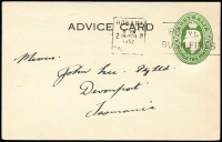 Lot 484:1941-50 2d Green KGVI Oval BW #PS30 1952 (Mar 14) use for H Jones & Co (Tas) as advice card, Hobart slogan cancel, fine condition, Cat $200.