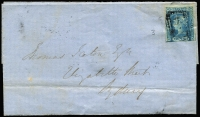 Lot 726:1854(?) outer to Sydney with 2d Laureate tied by weak strike of BN '62', Morpeth crown oval backstamp.