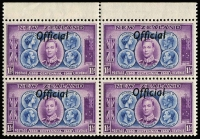 Lot 1789 [2 of 3]:1940 Centennial: 2½d marginal block of 40 (37 units MUH, couple gumside tonespots), including variety 'ff' joined (3rd row, 4th unit); also ½d & 1½d marginal blocks of 4, lower units MUH; Cat £280++. (3 items)