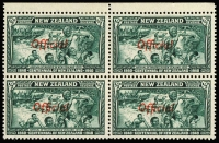 Lot 1789 [3 of 3]:1940 Centennial: 2½d marginal block of 40 (37 units MUH, couple gumside tonespots), including variety 'ff' joined (3rd row, 4th unit); also ½d & 1½d marginal blocks of 4, lower units MUH; Cat £280++. (3 items)