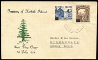 Lot 1378:1958 7d & 8d Surcharges tied to Max Easther FDC by '1JY58' FDI datestamp, typed address, typed address, very scarce.