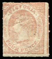 Lot 802:1858 Emblems No Wmk Smooth Laid Paper Rouletted 5½-6½ 4d pale dull rose (vertically laid) SG #71, creased, large-part gum, Cat £300.