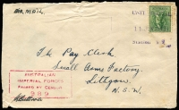 Lot 603:Queensland fine unframed rectangle 'UNIT POSTAL/11JUL1943/Station Y9' cancel (allocation not seen by Proud) tying 4d Koala to airmail cover to Lithgow, boxed AIF censor cachet in red, section missing from the back.