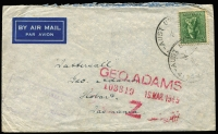 Lot 574 [1 of 2]:Queensland & New Guinea Unit Postal Station 412 datestamp used '20DE44' at Petrie Staging Camp (Qld) on airmail cover to NSW and on '15MR45' at Marooka (New Guinea) on a Tatts cover, the latter usage not seen by Proud. (2)