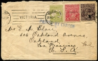 Lot 667:1918 (Nov 20) Cover to USA with 3d Roo plus KGV 1d Red & 1½d brown paying double foreign letter rate plus ½d War Tax, 'PASSED BY CENSOR' handstamp in blue, edge blemishes.