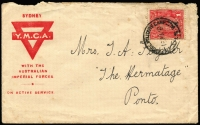 Lot 920:Liverpool Military Camp: 'LIVERPOOL MILITARY CAMP/15AU16/NSW' (A1) on 1d red KGV on YMCA printed cover to Ponto (NSW), edge blemishes.  PO 25/2/1915; closed 14/12/1918.