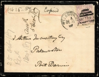 Lot 515:1887 (Oct 26) inwards cover from Melbourne addressed to Palmerston, Port Darwin with largely complete 'PORT DARWI[N]