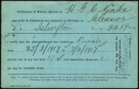 Lot 1340 [2 of 2]:Broadmeadows Military Camp (1): 'MILITARY CAMP BROADMEADOWS/16AP17/VIC' (WWW #20 - B1) on South Australian Railways pay card, with printed address, accompanied by photocopy the soldier's service record. [The SA Rly made up the difference between the army pay and the railway pay for their employees.]  PO 17/8/1914; closed 29/3/1919.