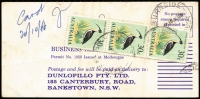 Lot 201:1966-68 30c Ibis BW #459 strip of 3 (one stamp damaged) tied by Bankstown (NSW) datestamps paying postage due on 1966 Dunlopillo business reply card.