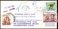 Lot 508:1966-74 $1 Flinders $1 Navigators BW #463 plus 50c Navigators & 5c Bird tied by Bankstown (NSW) datestamps paying postage due on 1968 Dunlopillo business reply card.