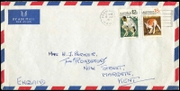 Lot 274:1971-72 Animals 12c & 18c BW #560-61 paying airmail rate on 1971 (Oct 6) airmail cover to UK.