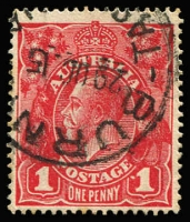 Lot 238:1d Red with variety Dot before right '1' [VI/21] BW #71(3)f, Burnie (Tas) datestamp, well clear of the flaw.