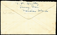Lot 1544 [2 of 2]:1940 (Apr 1) US Forces in Guam cover to NSW with 2c Prexie strip of 3 tied by Guam duplex cancels, with enclosed letter from a radio operator based there. Nice Item.