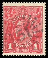 Lot 839:151: (B2) largely complete Commonwealth Period strike on KGV 1d red, [Rated RRRR].  Allocated to Tieryboo-PO 21/5/1856; replaced by Condamine PO 31/7/1856.