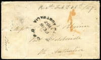 "Lot 1159 [1 of 2]:1857 inwards cover from United Kingdom with fine 'GPO/FE16/1857/SOUTH AUSTRALIA' arrival datestamp, stamp removed (1/- Embossed ?) at lower-left corner, with faint impression of '752' barred numeral cancel still evident, '1d' in red handstamp & ""Paid"" in manuscript, backstamped Stowmarket 'DE 4/1856' in blue & Port Adelaide 'FE16/1857' in red."