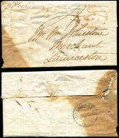 Lot 610 [1 of 9]:1843-45 Entires From NSW to merchant William Johnstone all with Sydney crown oval datestamps of varying quality and most with Launceston double-circle arrival backstamps, very mixed condition. (9)