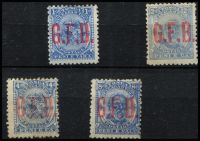 Lot 1730 [2 of 2]:1893 Officials: 1d to 1/- set optd 'G.F.B.' SG #O1-5, 2d without gum, others part gum, Cat £275. (5)