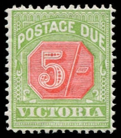 Lot 1159:1895-96 New Colours 5/- Pale Red & Yellowish Green SG #D20, fine mint, Cat £140.