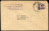 Lot 715:Royal Park Mil. P.O.: 'MIL P.O. ROYAL PARK/9AP53/VIC-AUST' datestamp tying QEII 1d to a concessional rate local cover, typed address.  PO 3/6/1940; closed c.1960.