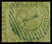 Lot 1275:1860-64 Recess Wmk Swan Rouletted 7½-14 6d sage-green with evidence of rouletting in base and left margins SG #32, good colour, 15-bar '1' cancel in blue, Cat £650.