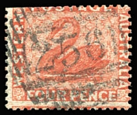 Lot 998:1861 Recess Wmk Swan Perf 14 At Somerset House 4d vermilion SG #40, some clipped perf at top, with BN '256' receiving cancel of Dorchester, England, Cat £180. Unusual.