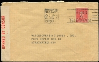 Lot 912 [2 of 4]:Censor Covers with Australian censor handstamps & tape for Adelaide, Brisbane, Melbourne, Hobart, Sydney, Newcastle, Perth & Townsville noting 1940 taxed commercial surface rate to USA, 1941 4/- clipper rate to Canada with meter cancel, 1944 7d Airletter on yellow paper BW #A1A sent from Mildura to UK with Melbourne censor; condition variable. (60+)