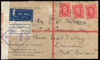 Lot 912 [3 of 4]:Censor Covers with Australian censor handstamps & tape for Adelaide, Brisbane, Melbourne, Hobart, Sydney, Newcastle, Perth & Townsville noting 1940 taxed commercial surface rate to USA, 1941 4/- clipper rate to Canada with meter cancel, 1944 7d Airletter on yellow paper BW #A1A sent from Mildura to UK with Melbourne censor; condition variable. (60+)