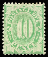 Lot 381 [2 of 2]:1902-04 Design Completed Wmk Crown/NSW 10d P11½-12 & 2/- P11½-12 BW #D35 & #40, 2/- some mild gum tone, mint, Cat $310. (2)