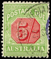 Lot 384 [2 of 2]:1909-10 Wmk Crown/Double Lined A Thick Paper 2/- variety White spur of left side of 'I' of 'AUSTRALIA' BW #D89(FP1)d mint & 5/- variety Break in left frame 5mm above lower corner #D90(FP1)f used, Cat $250. (2)