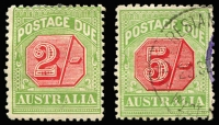 Lot 384 [1 of 2]:1909-10 Wmk Crown/Double Lined A Thick Paper 2/- variety White spur of left side of 'I' of 'AUSTRALIA' BW #D89(FP1)d mint & 5/- variety Break in left frame 5mm above lower corner #D90(FP1)f used, Cat $250. (2)