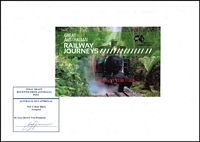 Lot 2329:2010 Australian Railway Journeys photographic proof of booklet front, numbered #1 of 500, with Australia 2013 logo in black, being the Final Draft received from Australia Post endorsed 'AUSTRALIA 2013 APPROVAL/New Colour Black/Accepted' and signed by Gary Brown.