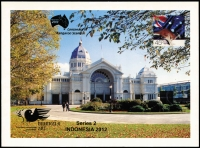Lot 399:2012 Pre-Paid Airmail Postcard showing Royal Exhibition Buildings Melbourne overprinted in gold for 'INDONESIA 2012' stamp expo and again with Australia 2013 Centenary of Kangaroo Stamps logo being a limited edition, numbered #1 of 250.