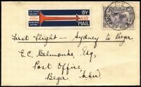 Lot 321:1931 6d Airmail BW #143 solo franking paying combined airmail, postage & late fee on 1934 (Feb 4) Adastra Airways, Sydney-Bega flight cover AAMC #353, ANA airmail label. Fine condition.