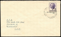 Lot 295:1957-60 QEII 7½d Violet BW #321 solo franking paying surface rate on 1958 (Jul 16) Salisbury North (SA) cover to USA.