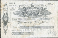 Lot 36 [2 of 3]:Australia - Victoria: 1891-97 'COLONY OF VICTORIA/Miner's Right' (219x143mm) revenue stamped paper with printed 'FIVE/SHILLINGS' at upper-right dated 1891 x2 or 1897, all issued at Ballarat, some staining as is usual, fine overall. (3)