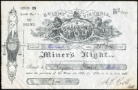 Lot 28 [3 of 3]:Australia - Victoria: 1891-97 'COLONY OF VICTORIA/Miner's Right' (219x143mm) revenue stamped paper with printed 'FIVE/SHILLINGS' at upper-right dated 1891 x2 or 1897, all issued at Ballarat, some staining as is usual, fine overall. (3)