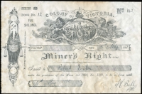 Lot 36 [1 of 3]:Australia - Victoria: 1891-97 'COLONY OF VICTORIA/Miner's Right' (219x143mm) revenue stamped paper with printed 'FIVE/SHILLINGS' at upper-right dated 1891 x2 or 1897, all issued at Ballarat, some staining as is usual, fine overall. (3)