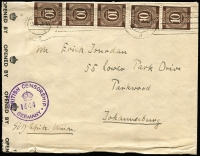 Lot 1336 [1 of 4]:1946-48 Group of Covers x4, comprising American Zone censored to Switzerland and British zone censored to South Africa or Australia plus an uncensored cover to Australia. (4)