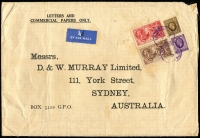 Lot 1193 [1 of 2]:1937 (Apr 14) oversized (255x175mm) printed cover to D&W Murray Ltd (Sydney) with 2/6d & 5/- Re-engraved Seahorses plus KGV 1/- & 3d (paying septuple rate) tied by London Air Mail cds, Sydney backstamp, minor toning.