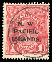 Lot 771:1915-16 KGV Single Wmk 1d red SG 67 Fourth Setting with the Overprint Variety - No Stop after 'W' of 'N.W.' (just a very faint outer ring evident), Rabaul datestamp. Rare.