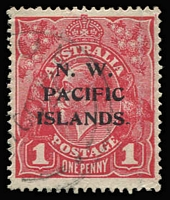 Lot 1040:1915-16 KGV Single Wmk 1d carmine-red SG 67b Fourth Setting with Major Overprint Variety - No Stop after 'S' of 'ISLANDS' (just a tiny fragment of the stop is evident), fine used.
