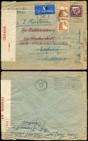 Lot 1803 [2 of 3]:1941-42 Censored Covers to UK comprising [1] 1941 (Jan 24) with 20m Citadel x4 tied by Tel Aviv datestamp, black/salmon 'PC22' censor tape & boxed 'PALESTINE/OPENED AND/PASSED BY/CENSOR' handstamp in violet on reverse; [2] 1941 (Mar 9) with 50m & 5m pair tied by Tiberias datestamp, red/white '71/10933' censor tape, Enfield arrival backstamp; [3] 1942 (Apr 20) registered cover with 10m block of 5 and 5m tied by oval 'REGISTERED/TEL AVIV' datestamp, boxed 'PALESTINE/OPENED AND/PASSED BY/CENSOR' handstamp in violet on reverse; minor blemishes.