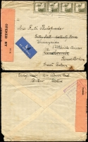 Lot 1803 [3 of 3]:1941-42 Censored Covers to UK comprising [1] 1941 (Jan 24) with 20m Citadel x4 tied by Tel Aviv datestamp, black/salmon 'PC22' censor tape & boxed 'PALESTINE/OPENED AND/PASSED BY/CENSOR' handstamp in violet on reverse; [2] 1941 (Mar 9) with 50m & 5m pair tied by Tiberias datestamp, red/white '71/10933' censor tape, Enfield arrival backstamp; [3] 1942 (Apr 20) registered cover with 10m block of 5 and 5m tied by oval 'REGISTERED/TEL AVIV' datestamp, boxed 'PALESTINE/OPENED AND/PASSED BY/CENSOR' handstamp in violet on reverse; minor blemishes.