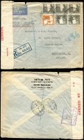 Lot 1803 [1 of 3]:1941-42 Censored Covers to UK comprising [1] 1941 (Jan 24) with 20m Citadel x4 tied by Tel Aviv datestamp, black/salmon 'PC22' censor tape & boxed 'PALESTINE/OPENED AND/PASSED BY/CENSOR' handstamp in violet on reverse; [2] 1941 (Mar 9) with 50m & 5m pair tied by Tiberias datestamp, red/white '71/10933' censor tape, Enfield arrival backstamp; [3] 1942 (Apr 20) registered cover with 10m block of 5 and 5m tied by oval 'REGISTERED/TEL AVIV' datestamp, boxed 'PALESTINE/OPENED AND/PASSED BY/CENSOR' handstamp in violet on reverse; minor blemishes.